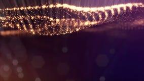 Gouden oppervlakte van deeltjes, microkosmos of ruimte Naadloze lengte met mooie lichteffecten 3d lijn abstracte animatie stock videobeelden