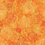Gouden oranje bloementextuur naadloos patroon Stock Afbeeldingen