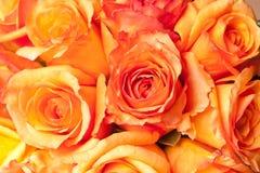 Gouden Oranje Huwelijk Bruids Rose Bouquet stock afbeeldingen