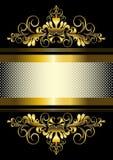 Gouden ornament en gouden strepen met lint Stock Foto