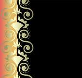 Gouden ornament op zwarte achtergrond Royalty-vrije Stock Foto