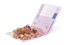 Gouden ornamenten en euro Royalty-vrije Stock Afbeeldingen
