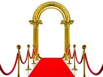 Gouden oude boog met Rood Tapijt Royalty-vrije Stock Fotografie