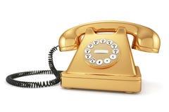 Gouden ouderwetse telefoon Stock Foto