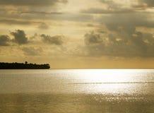 Gouden overzees en landsilhouet stock afbeeldingen