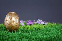Gouden paasei op gras royalty-vrije stock foto's