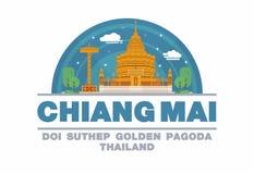 Gouden Pagode (DOI SUTHEP) van Chiang-MAI, het Embleemsymbool van Thailand Royalty-vrije Stock Fotografie