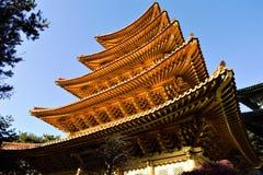 Gouden pagode van de godsdienstige beweging van Jeung San Do in Cheongju, Korea royalty-vrije stock fotografie