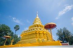 Gouden Pagode, Wat Phra That Sri Jom-Leren riem (de Koninklijke Tempel) Stock Fotografie