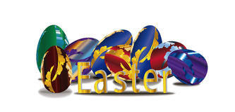 Gouden Pasen-woord met Kleurrijke Eieren Royalty-vrije Stock Foto