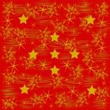 Gouden patroon en sterren op rood Stock Afbeelding