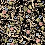 Gouden patroon met bloemen royalty-vrije illustratie