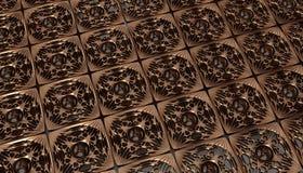 Gouden patroon op de okkernootraad Stock Afbeelding