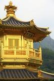 GOUDEN PAVILJOEN - de Tuin van Nan Lian Stock Foto