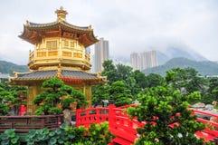 Gouden Paviljoen van Nan Lian Garden, Hong Kong royalty-vrije stock fotografie