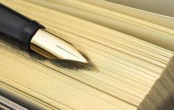Gouden pen op gouden agenda stock afbeelding