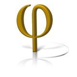 Gouden phi van het sectiesymbool. Stock Afbeeldingen