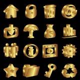 Gouden pictogrammen Stock Afbeelding