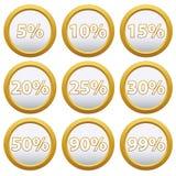 Gouden Pictogrammen met percenten Royalty-vrije Stock Foto's