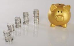 Gouden Piggybank met Muntstukken Stock Foto's