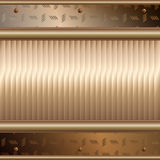 Gouden platen over metaaloppervlakte Stock Foto