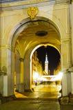 Gouden poort in Gdansk bij nacht Royalty-vrije Stock Afbeeldingen