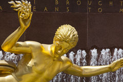 Gouden Prometheus Standbeeld, redactie Royalty-vrije Stock Afbeelding