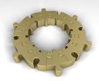 Gouden puzzelcirkel stock illustratie