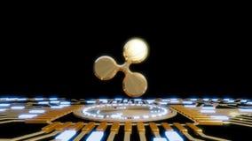 Gouden Rimpelings digitale munt, futuristisch digitaal geld, het concept van het technologiewereldwijde netwerk Royalty-vrije Stock Afbeeldingen