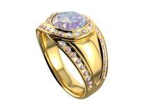 Gouden ring met diamant Stock Afbeelding