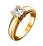 Gouden ring met diamant die op het wit wordt geïsoleerdr Stock Afbeeldingen