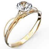 Gouden ring met diamant die op het wit wordt geïsoleerdr Stock Afbeelding