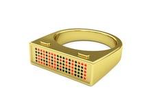 Gouden ring met elektronisch geleid horloge Stock Fotografie