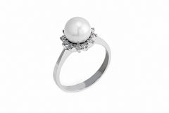 Gouden ring met parel en diamant Royalty-vrije Stock Afbeeldingen