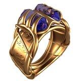 Gouden Ring met Saffieren Royalty-vrije Stock Afbeeldingen