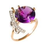 Gouden ring met stenen Royalty-vrije Stock Foto