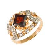 Gouden ring met stenen Royalty-vrije Stock Afbeeldingen