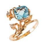 Gouden ring met stenen Stock Foto