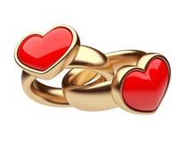 Gouden ring twee met rood 3D hart. Liefde. Geïsoleerda Stock Foto