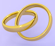 Gouden Ringen die Liefde Valentine And Romance vertegenwoordigen Stock Foto's