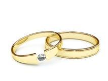 Gouden ringen met diamant Royalty-vrije Stock Afbeeldingen
