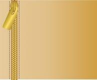 Gouden ritssluiting op een bruine achtergrond Vector illustratie stock illustratie