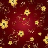 Gouden & rode bloemenachtergrond Stock Foto