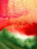 Gouden, Rode, Groene en Oranje Waterverf Royalty-vrije Stock Foto
