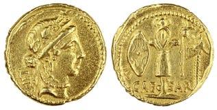 Gouden Roman Muntstuk Stock Foto