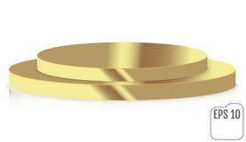 Gouden rond die stadiumpodium, voetstuk op witte achtergrond wordt geïsoleerd Royalty-vrije Stock Afbeeldingen