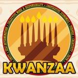 Gouden Ronde Knoop met Kaarslichtsilhouet voor Kwanzaa-Viering, Vectorillustratie Royalty-vrije Stock Afbeelding