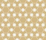 Gouden rooster vectorpatroon Geometrische naadloze textuur met hexagonaal net Stock Afbeeldingen