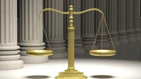 Gouden schaal van rechtvaardigheid met oude pijlers stock illustratie
