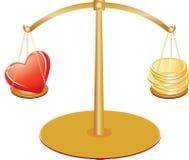 Gouden schalen met hart en geld Royalty-vrije Stock Foto's